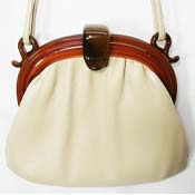 Vintage Faux Tortoiseshell And Tan Vinyl Purse