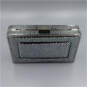White House Black Market Three Way Clutch Silver Snakeskin Print