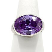 Charles Albert Fine Sterling Silver Faceted Purple Gemstone Ring