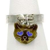 Sterling Ring With Dangling Enameled Cat Face Charm