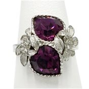 Vintage Adjustable Purple Love Story Ring By Sarah Coventry