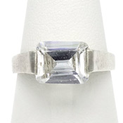 Sterling Silver Ring With Clear Rectangular Glass Stone