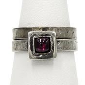 Sterling Garnet Silpada Stackable Rings R0949