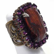 Sorrelli Red Tiger Eye Topaz And Purple Rhinestone Cocktail Ring