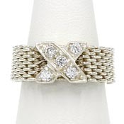 Rhodium Plated Sterling Mesh CZ X Ring