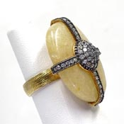 Yellow Quartz Sterling Vermeil Rhinestone Ring