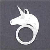 White Pearl Acrylic Unicorn Ring By Vinca