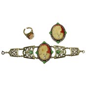 Vintage Czech Cameo Habille Bracelet Pin And Ring Set