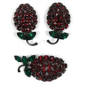 Vintage Red And Green Rhinestone Berry Or Fruit Set