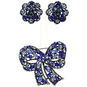 Vintage Weiss Blue Rhinestone Bow Pin And Earrings