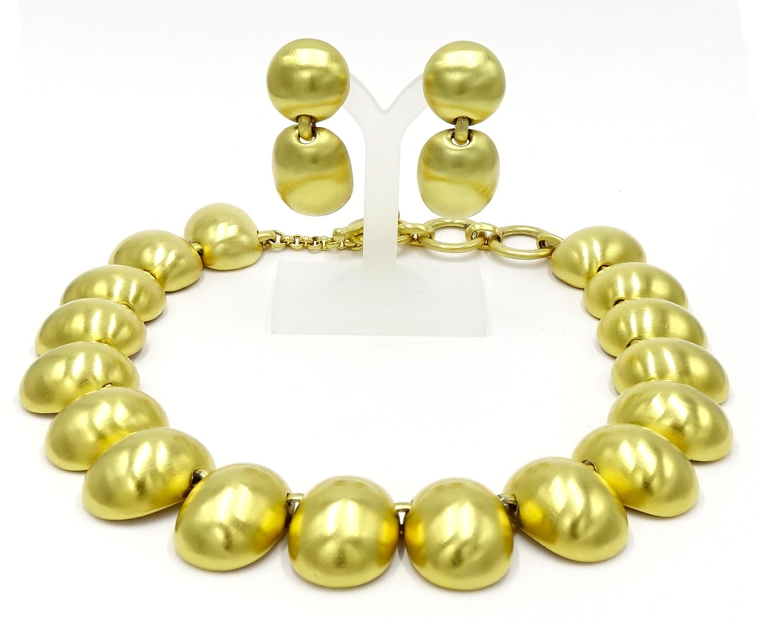 Clara Studios Brushed Gold Earring And Necklace Set