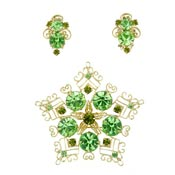 Vintage Green Rhinestone Curly Cue Earring And Pin Set