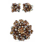 Juliana D&E Beaded Topaz Rhinestone Earrings And Pin Demi