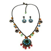 Liz Palacios Earthy Swarovski Necklace Earrings Set