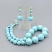 Vintage Light Blue Hong Kong Beaded Jewelry Set