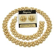 Vintage Napier Golden Necklace Bracelet Earrings Set
