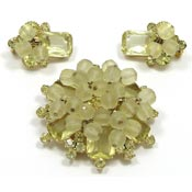 Vintage Juliana D&E Jonquil Beaded Earrings And Pin Set Verified
