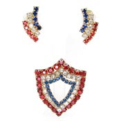 Vintage Patriotic Rhinestone Earrings And Shield Pin Set