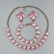 Vintage Pink Moon Moonglow Thermoset Plastic Jewelry Set