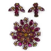 Schreiner Purple Yellow Rhinestone Tiered Flower Earring Pin Set
