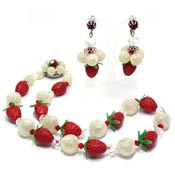 Adorable Plastic Strawberry Crystal Necklace And Earrings