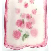Vintage Japanese Rose Hand Rolled Rayon Scarf