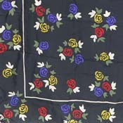 Silk Primary Color Roses On Black Scarf