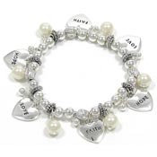 Pearl Hope Faith Love Charm Bracelet