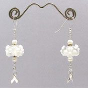 Pearl and White Floral Lampwork Ribbon Earrings