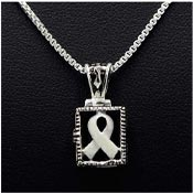 Sterling Pearl Ribbon Prayer Box Necklace
