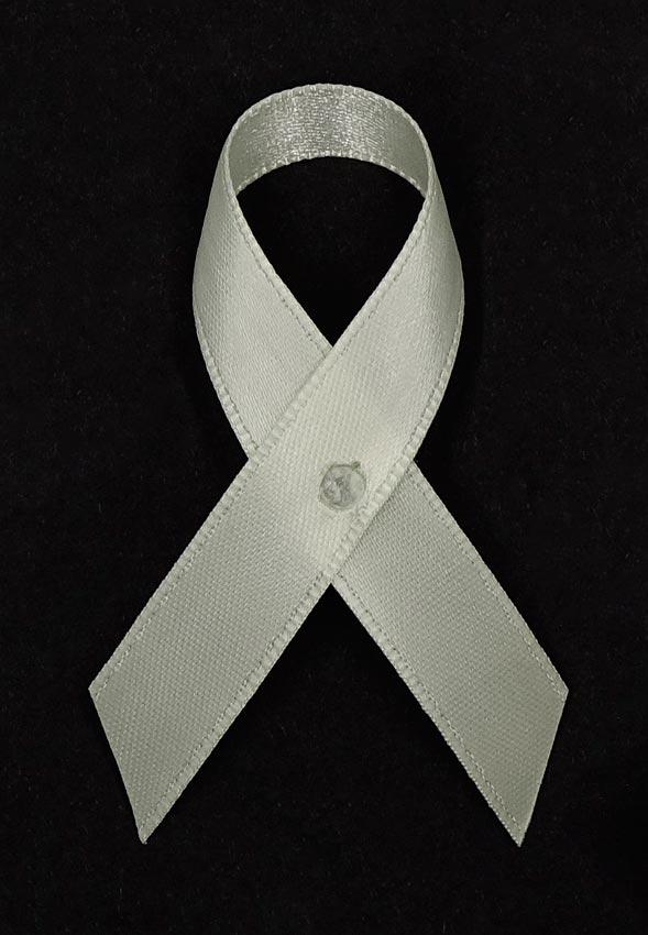 Cream Satin Awareness Ribbon Pins