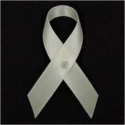 Cream Satin Awareness Ribbon Pins