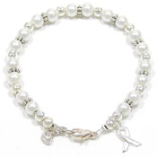 Pearl Beaded Awareness Ribbon Bracelet