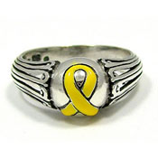 Sterling Yellow Ribbon Awareness Ring