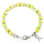 Yellow Beaded Awareness Ribbon Bracelet