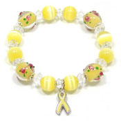 Yellow Ribbon Lampwork Beaded Bracelet