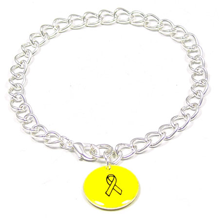 Yellow Custom Colors Of Support Round Charm Bracelet