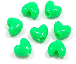 Green Heart Pony Beads 20 Pieces