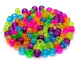Bright Glitter Transparent 9x6mm Pony Bead Mix 50 Pieces