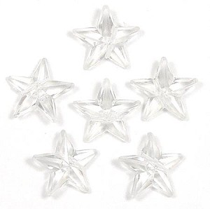 Clear 16x16 Faceted Star Beads 20 Pieces