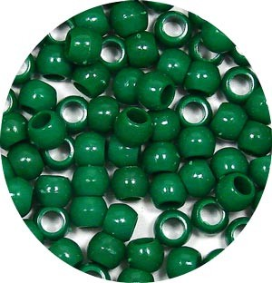 Dark Green 7x6mm Pony Beads 50 Pieces