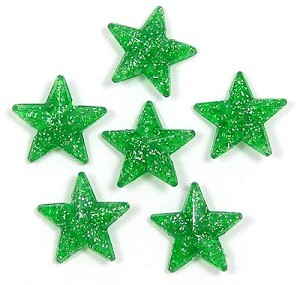 Green Glitter 16x16 Faceted Star Beads 12 Pieces