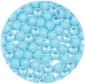 Light Blue 7x6mm Pony Beads 50 Pieces