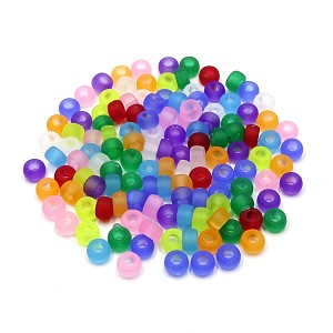 6.5 x 4 mm Mixed Frosted Mini Barrel Pony Beads 50 Pieces
