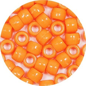 Orange 9x6mm Pony Beads 50 Pieces