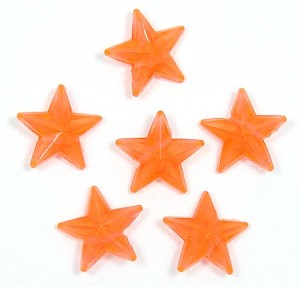 Transparent Orange 16x16 Faceted Star Beads 20 Pieces