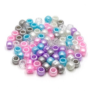 Pastel Pearl Glitter Princess Mix  9x6 mm Pony Beads 50 Pieces