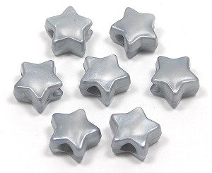 Light Silver Pearl Star Pony Bead 12 Pieces