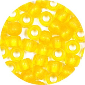 Transparent Yellow 9x6mm Pony Beads 50 Pieces