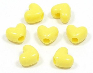 Yellow Heart Pony Beads 20 Pieces